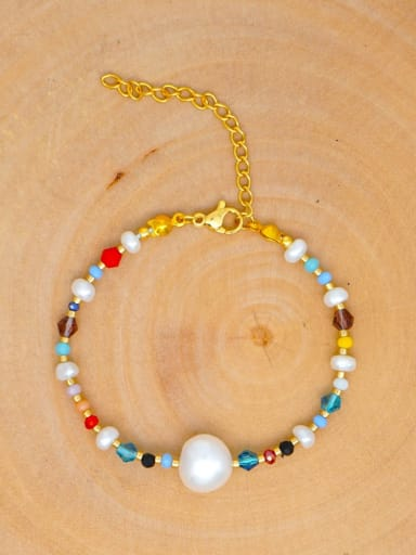 Stainless steel Freshwater Pearl Multi Color Round Bohemia Bracelet