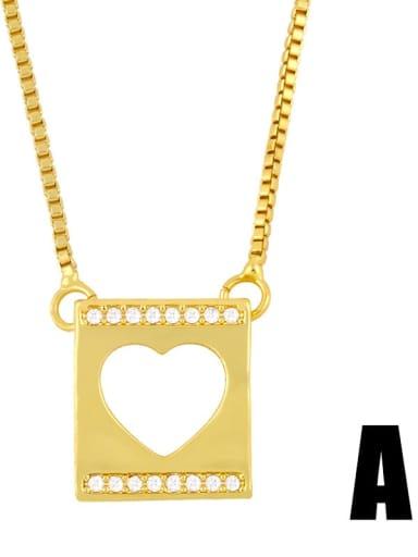 love Copper Rhinestone Heart Minimalist  Cross Pendant Necklace
