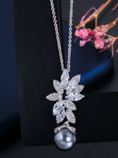 Single Necklace Brass Cubic Zirconia Luxury Flower Earring and Necklace Set