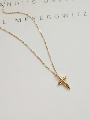 925 Sterling Silver Simple glossy cross pendant  Necklace