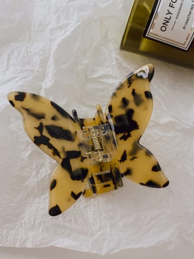 Tortoiseshell 8cm Alloy  Cellulose Acetate Minimalist Butterfly Jaw Hair Claw