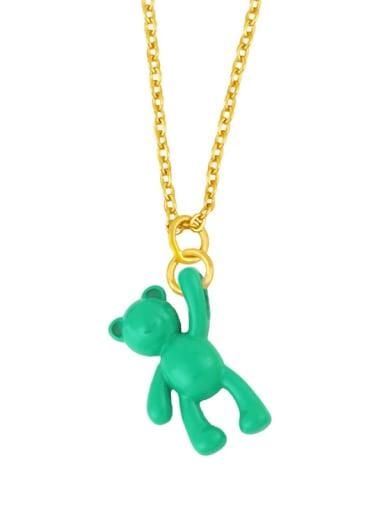 green Brass Multi Color Enamel  Cute Bear Pendant Necklace