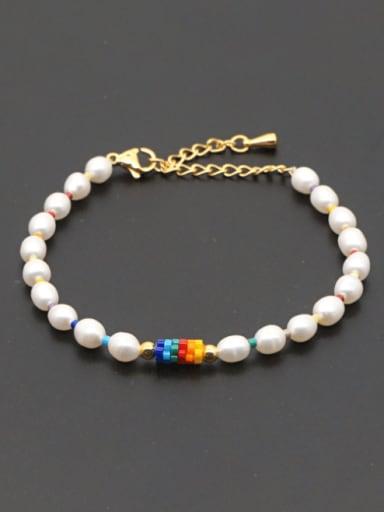 Stainless steel Freshwater Pearl Multi Color Round Minimalist Bracelet