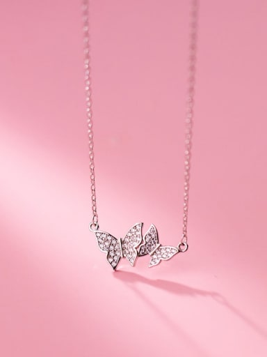 silver 925 Sterling Silver Cubic Zirconia Butterfly Minimalist Necklace