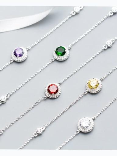 925 Sterling Silver Cubic Zirconia White Round Minimalist Link Bracelet