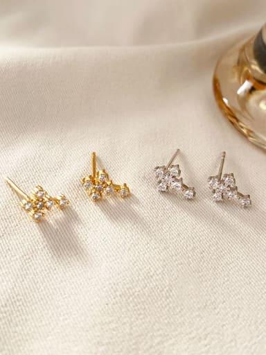 Platinum 925 Sterling Silver Cubic Zirconia Cross Minimalist Stud Earring