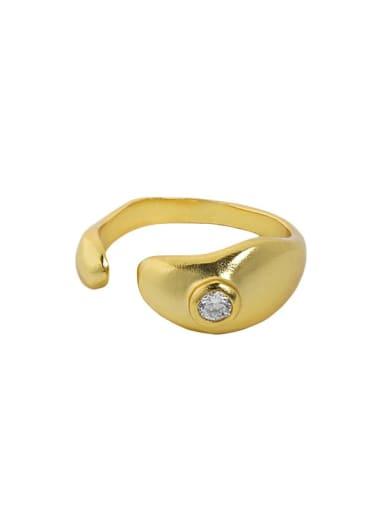 18K gold [No. 14 adjustable] 925 Sterling Silver Rhinestone Irregular Minimalist Band Ring