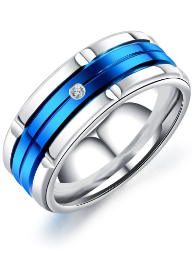 Blue Stainless Steel Band Ring