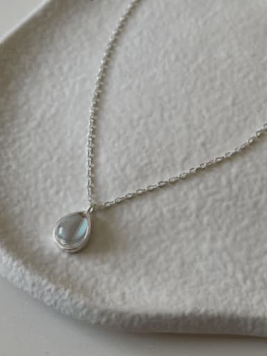 925 Sterling Silver Glass Stone Water Drop Minimalist Necklace