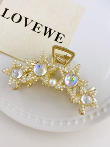 Four Star Crystal 7.5cm Alloy Imitation Pearl  Trend  Five-pointed star Jaw Hair Claw