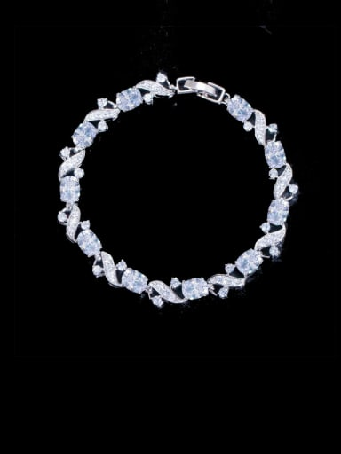 white Brass Cubic Zirconia Flower Luxury Bracelet
