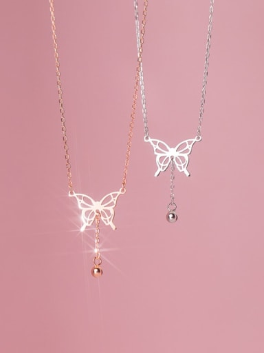 925 Sterling Silver Butterfly Minimalist Lariat Necklace