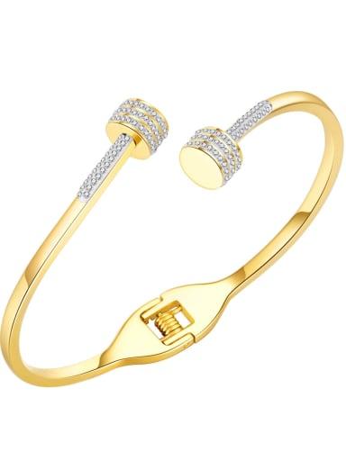 999 gold plated bracelet Titanium Steel Rhinestone Geometric Minimalist Cuff Bangle