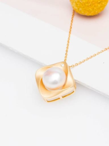 Pendant (without chain) 925 Sterling Silver Freshwater Pearl Minimalist Square   Earring and Necklace Set