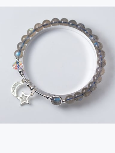 925 Sterling Silver Moonstone Star Minimalist Beaded Bracelet