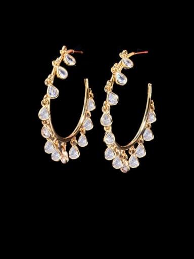 Golden white Brass Cubic Zirconia Geometric Luxury Cluster Earring