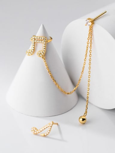 gold 925 Sterling Silver Cubic Zirconia  Minimalist Asymmetrical chain notes  Drop Earring
