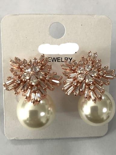 White Pearl Rose Gold Copper Cubic Zirconia Flower Dainty Stud Earring