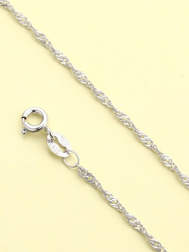 White gold water wave chain 925 Sterling Silver Minimalist  Chain