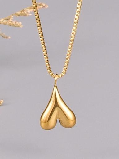 Titanium Steel Heart Minimalist Beaded Chain Necklace