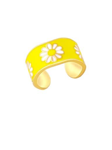 yellow Brass Enamel Flower Hip Hop Band Ring