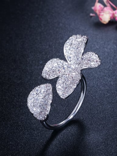 platinum Brass Cubic Zirconia Flower Luxury Statement Ring