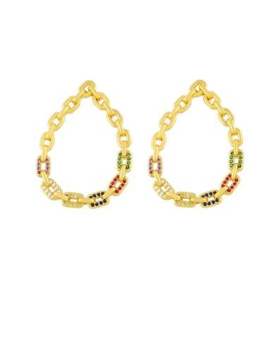 Color zirconium Brass Cubic Zirconia Hollow Water Drop Hip Hop Chandelier Earring