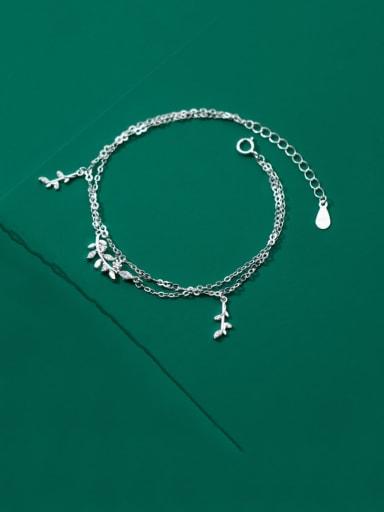 925 Sterling Silver Cubic Zirconia Leaf Minimalist Strand Bracelet