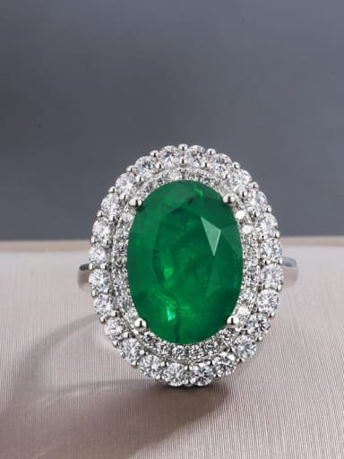 Emerald Ring Copper Cubic Zirconia Oval Luxury Statement Ring