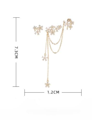 golden Brass Cubic Zirconia Flower Bohemia Drop Earring