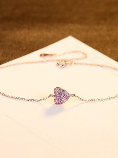 RG 12C09 925 Sterling Silver Rhinestone Heart Minimalist Link Bracelet
