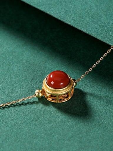 Necklace (including pendant) 925 Sterling Silver Carnelian Round Minimalist Bracelet