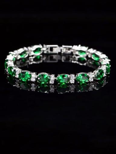 green Copper Cubic Zirconia Geometric Dainty Bracelet