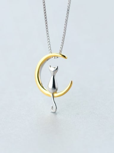 925 Sterling Silver  Minimalist Cute  Cat Moon  Necklace