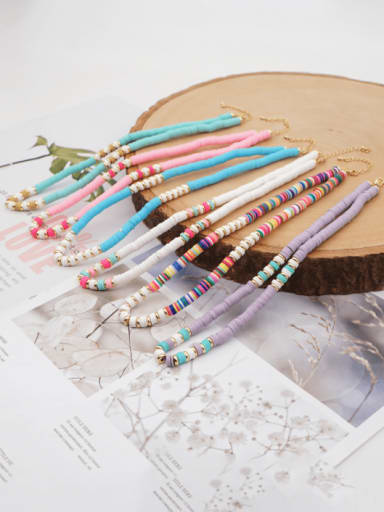 Stainless steel Multi Color Polymer Clay Bohemia Weave  Necklace