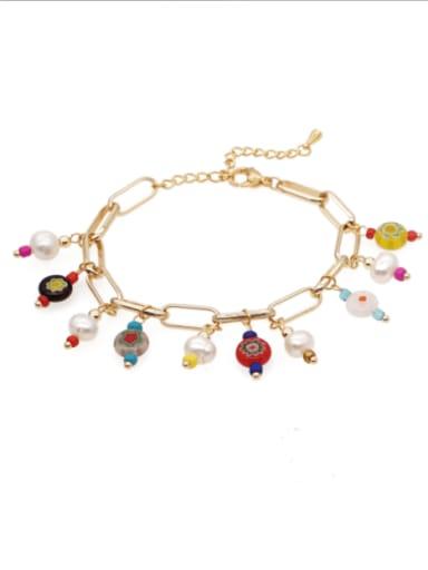 Stainless steel Bead Multi Color Irregular Ethnic Bracelet