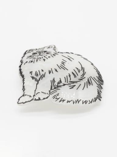 white Cellulose Acetate Cute Tiger Zinc Alloy Spring  Hair Barrette