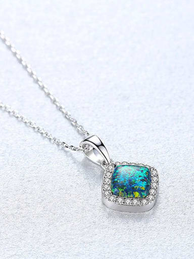 Green 20f05 925 Sterling Silver Opal Multi Color Simple square pendant  Necklace