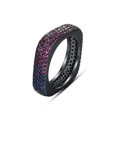 Copper Rhinestone Multi Color Square Minimalist Band Ring