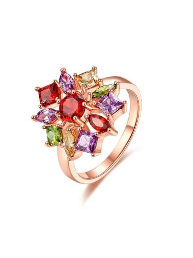 Brass Cubic Zirconia Geometric Luxury Band Ring