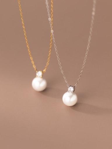 925 Sterling Silver Imitation Pearl Geometric Minimalist Necklace