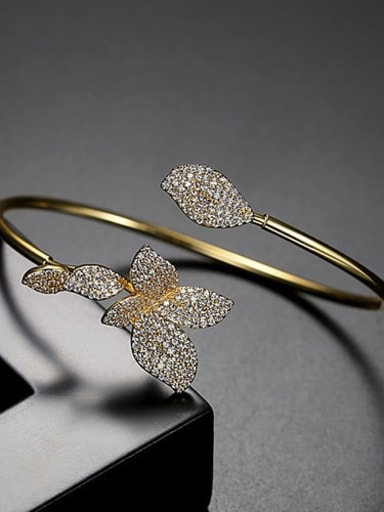 gold T14F20 Copper Cubic Zirconia Butterfly Trend Cuff Bangle