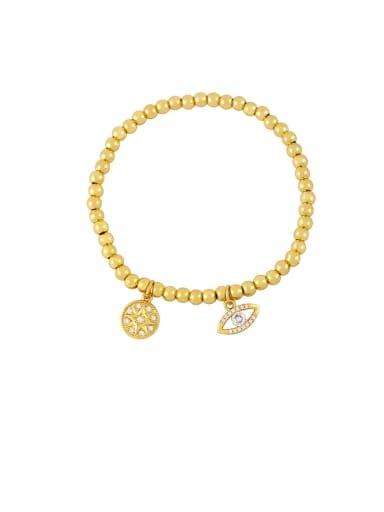 B Brass Cubic Zirconia Ball Vintage Beaded Bracelet