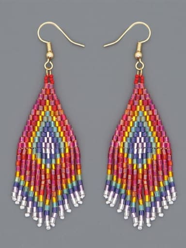 MG E210001A Stainless Steel Multi Color MGB Bead Tassel Bohemia Hand-Woven Earring