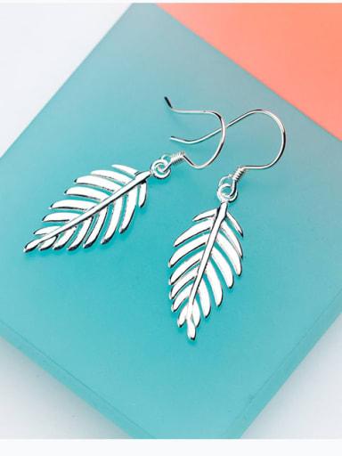 925 Sterling Silver Leaf Minimalist Hook Earring