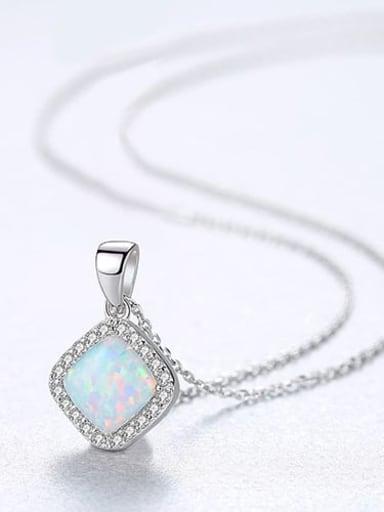 White 20f05 925 Sterling Silver Opal Multi Color Simple square pendant  Necklace
