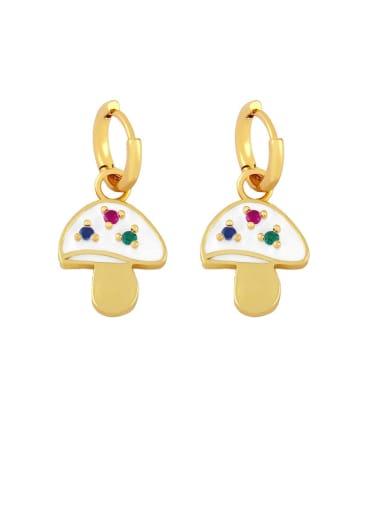 white Brass Enamel Mushroom Bohemia Stud Earring