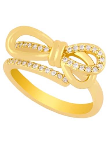 bow Copper Cubic Zirconia Heart Dainty Midi Ring