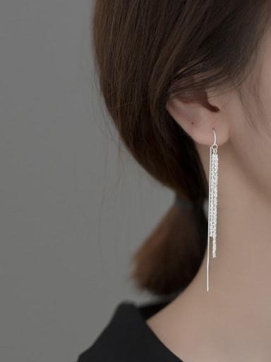 TASSEL EAR line Silver 925 Sterling Silver Tassel Minimalist Threader Earring