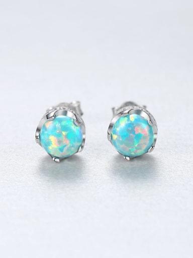 ?? 18F11 925 Sterling Silver Opal Geometric Trend Stud Earring